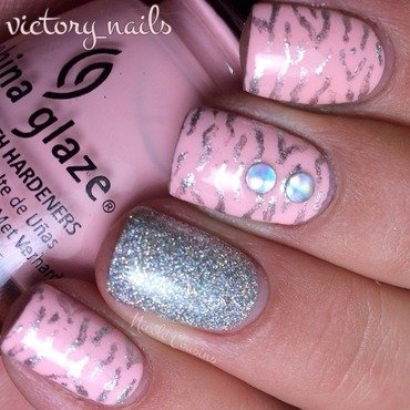 Zebra (pink & silver) nail art by Nicole