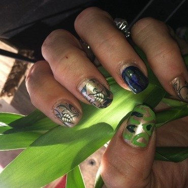 Going going gone green  nail art by April Dolan