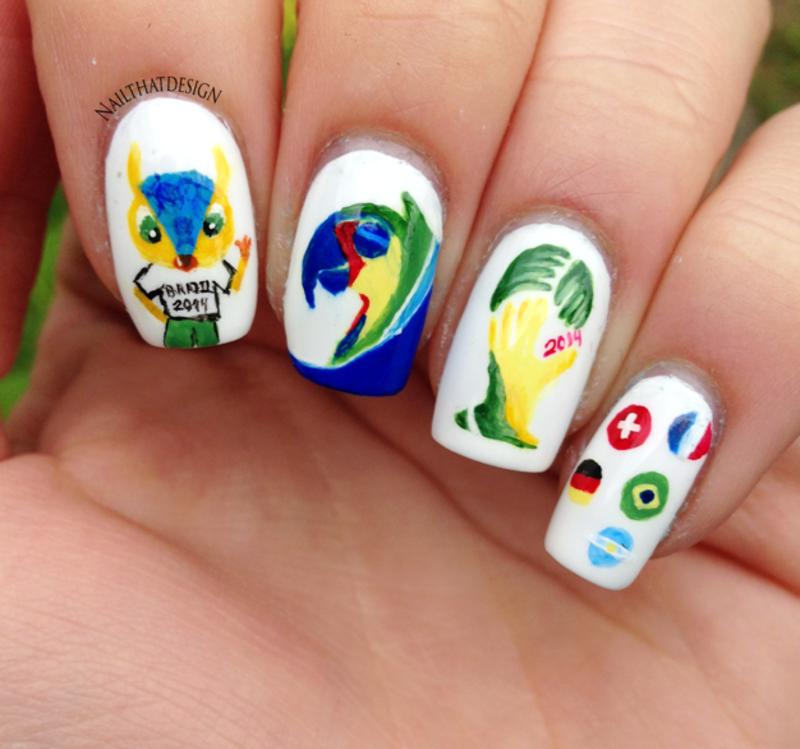 World Cup Mani nail art by NailThatDesign