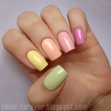 pastel skittles nail art by ania