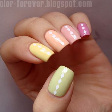 pastel skittles & white rhombus nail art by ania