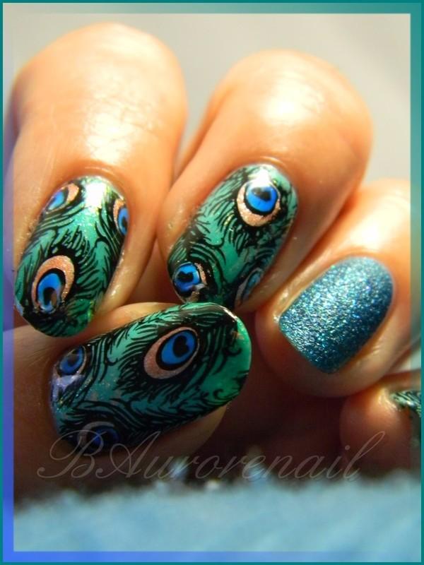 Nail art plume de paon nail art by BAurorenail