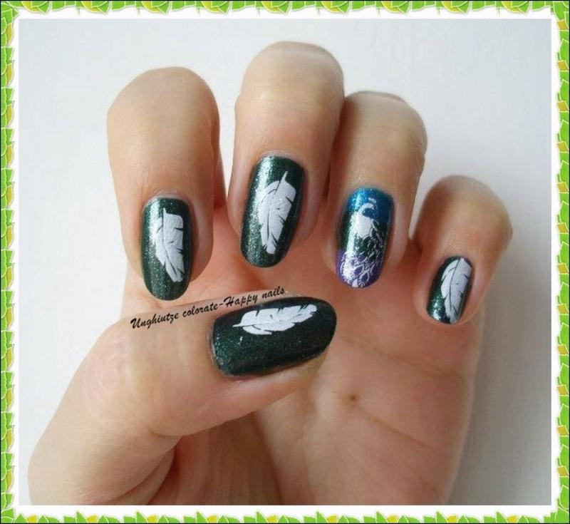 PEACOCK FEATHERS NAIL ART nail art by Oana  Alexandru