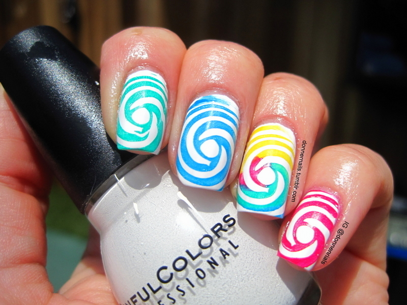 Candy Swirls nail art by Donner