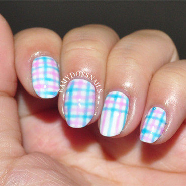 Plaid Madness nail art by Ramy Ang