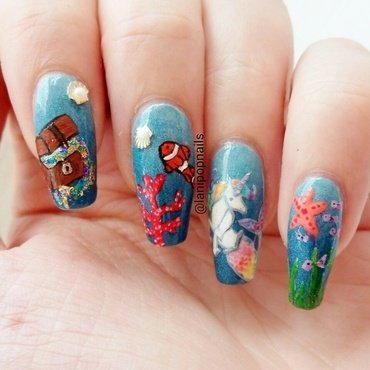 Under the sea nail art by Alanna
