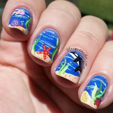 Under the Sea nail art by Jennifer Collins