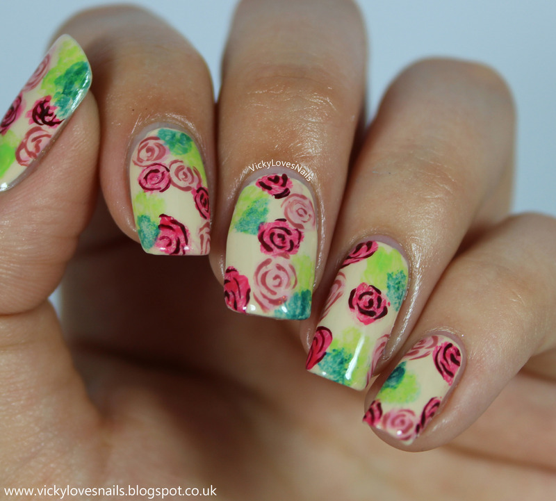 Watercolour Roses nail art by Vicky Standage