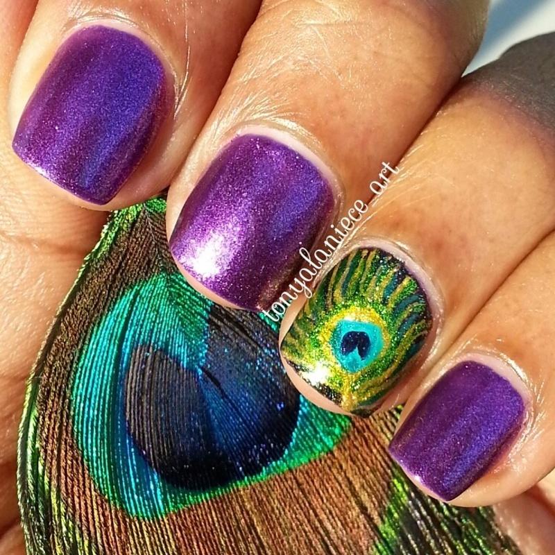 Peacock Feather  nail art by Tonya