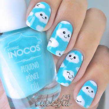 Kawaii Fluffy Clouds nail art by Cubbiful
