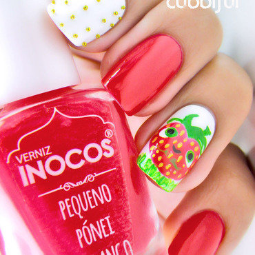 Barry, the Strawberry!  nail art by Cubbiful