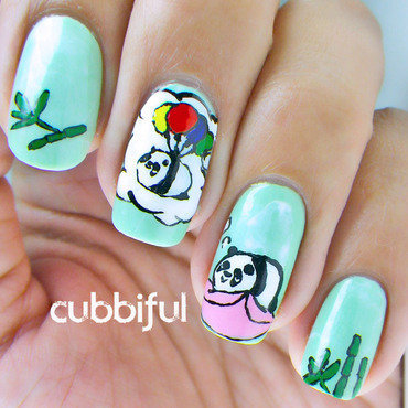 Panda's Big Dreams  nail art by Cubbiful