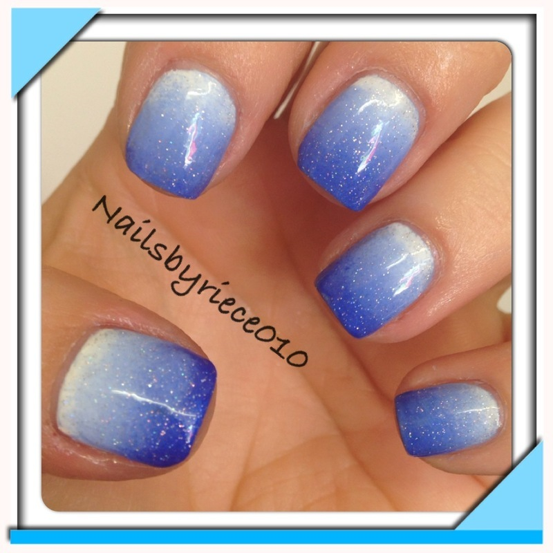 Blue ombre nail art by Riece