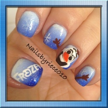 Frozen with Olaf nail art by Riece