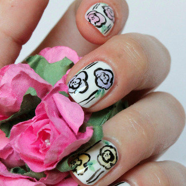 Sheer Flower nail art by Fran Nails