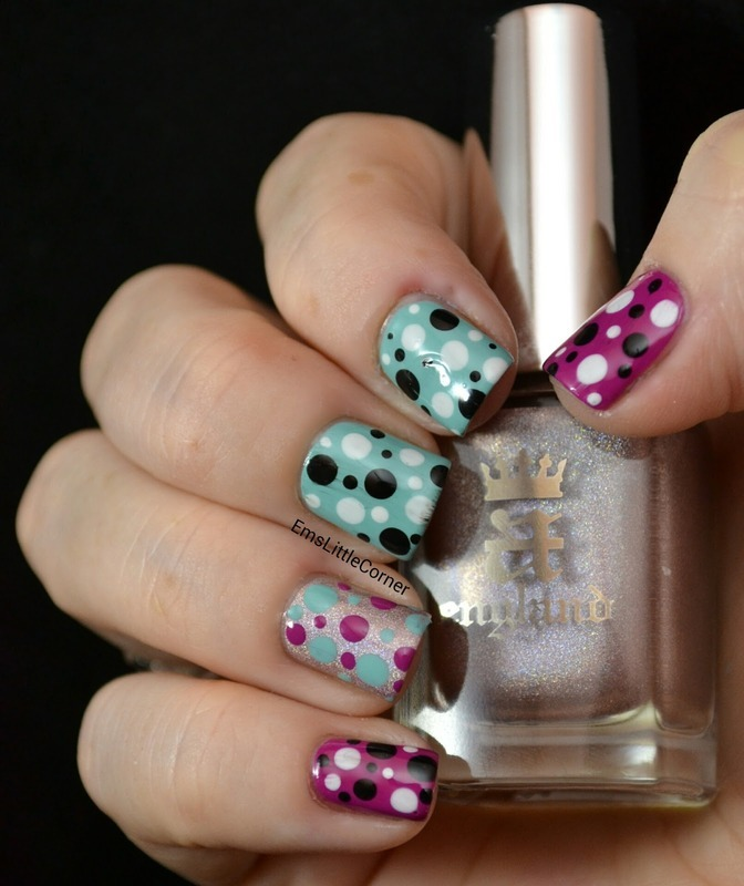 mixed colour dotticure with dalmatian dots nail art by Emma B