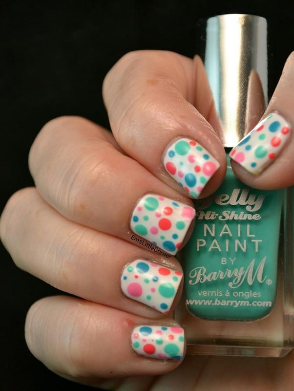 Barry M Tonal dots nail art by Emma B