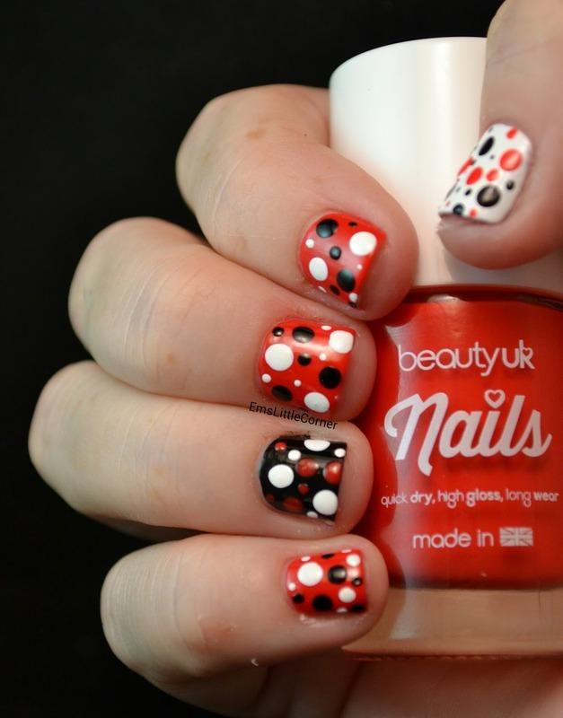 Bold dotticure on nubbins nail art by Emma B