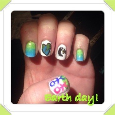 Earth day nails! nail art by Sandy