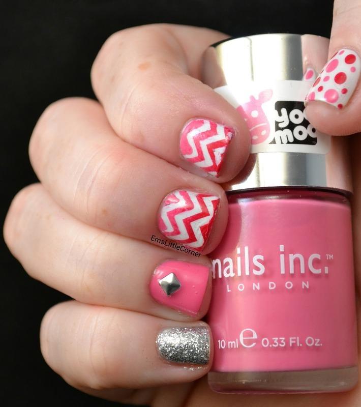 pink skittlette nail art by Emma B