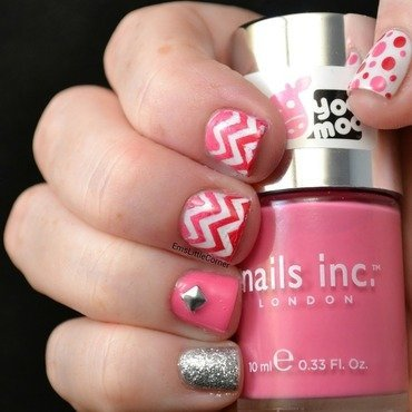 pink skittlette nail art by Emma B