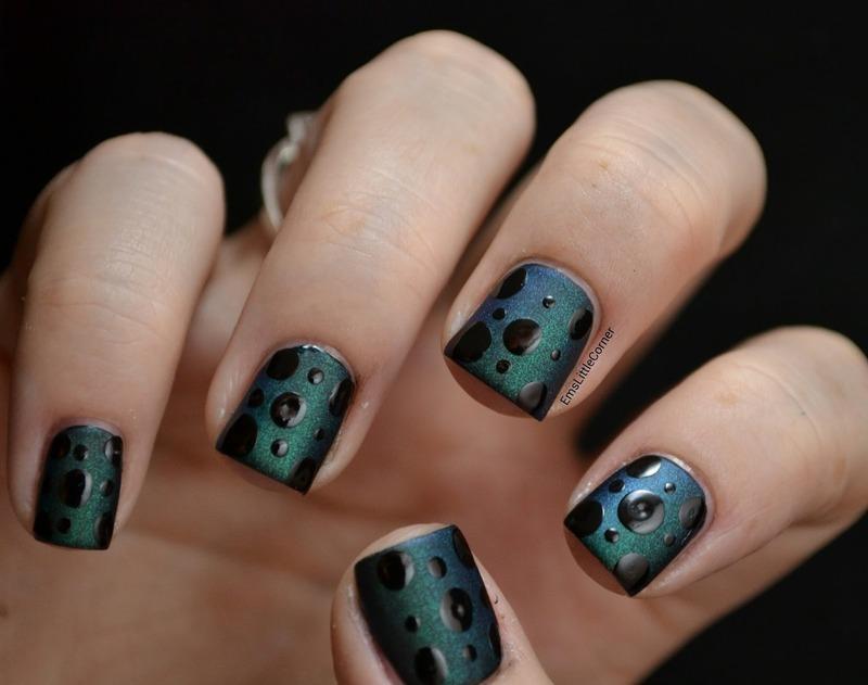matte base with shiny polish dots nail art by Emma B