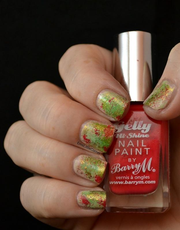 sponged base before nail art nail art by Emma B