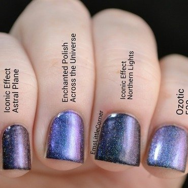 iconic effect astral plane, enchanted polish across the universe, iconic effect northern lights, and Ozotic 533 Swatch by Emma B