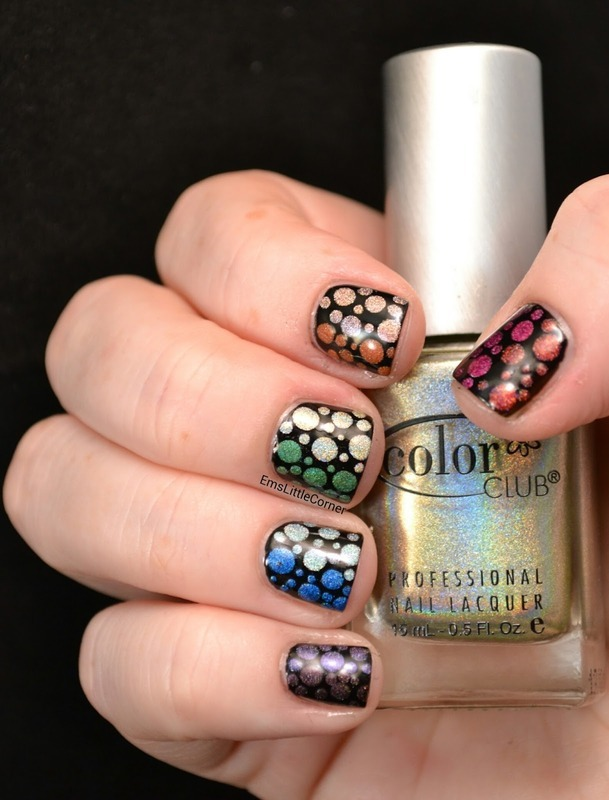 Rainbow holographic dots nail art by Emma B