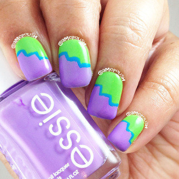 Neon Color Zag nail art by Amber Connor