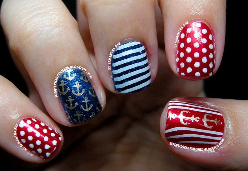 Nautical Redux nail art by Samantha Rae