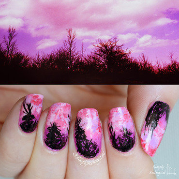 Pink & purple cloudy sunset behind a silhouette treeline nail art by simplynailogical