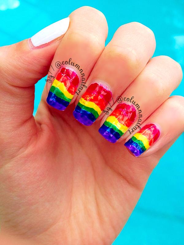 Rainbow Nails nail art by Carly Morgan