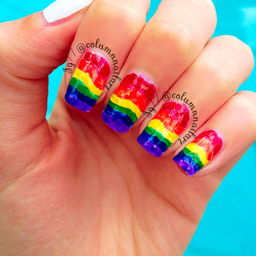 Rainbow Nails nail art by Carly Morgan