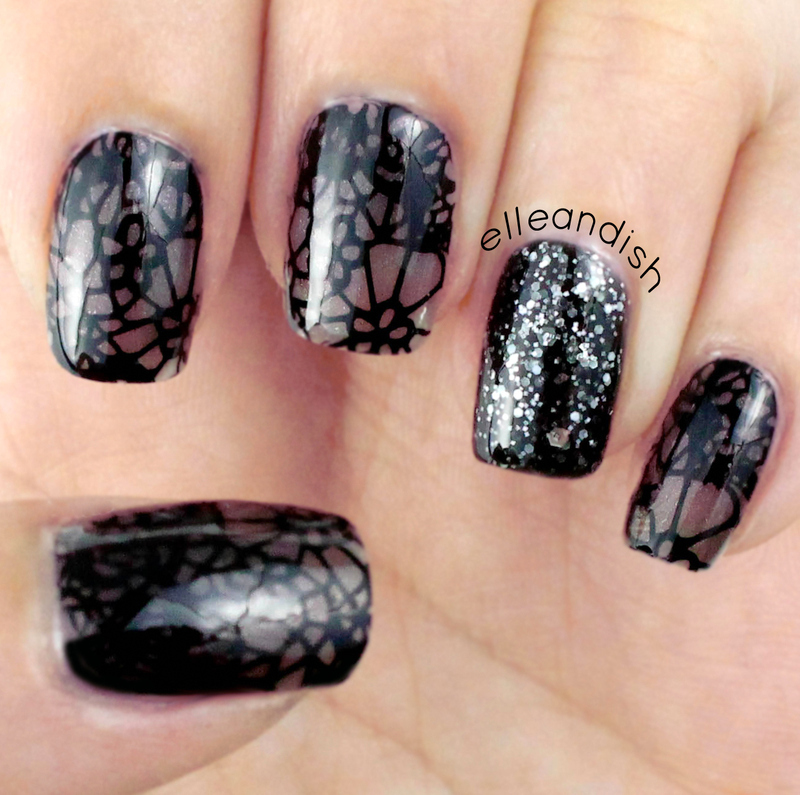 Sheer Black Lace Nails nail art by elleandish