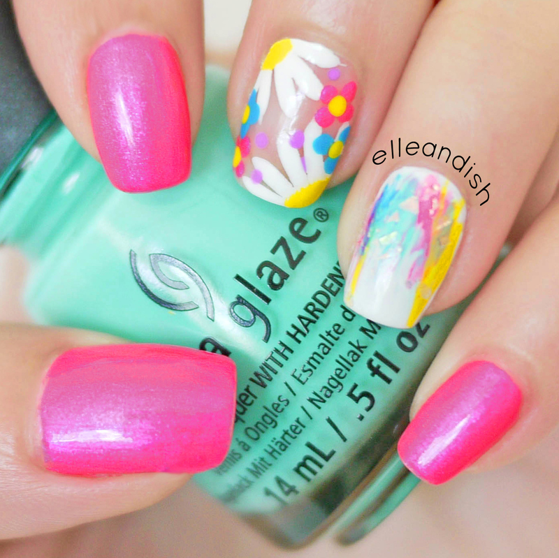 EDC Electric Daisy Nails nail art by elleandish