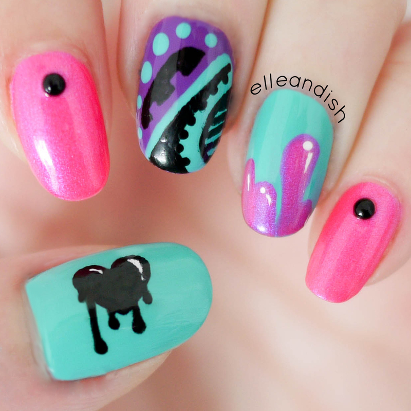 Graffiti Nails nail art by elleandish