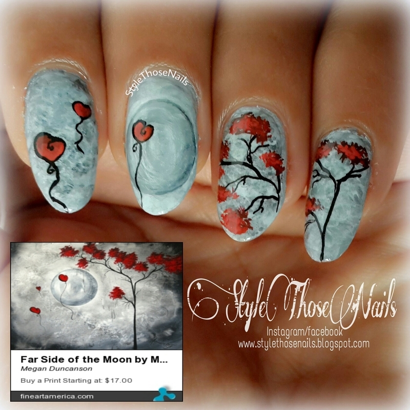 Far Side of the Moon- Nails inspired by Painting  nail art by Anita Style Those Nails