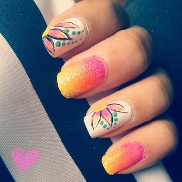Summer Bloom nail art by Krishna Patel