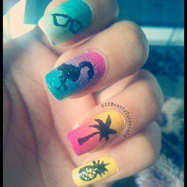 A day on The Beach nail art by Krishna Patel