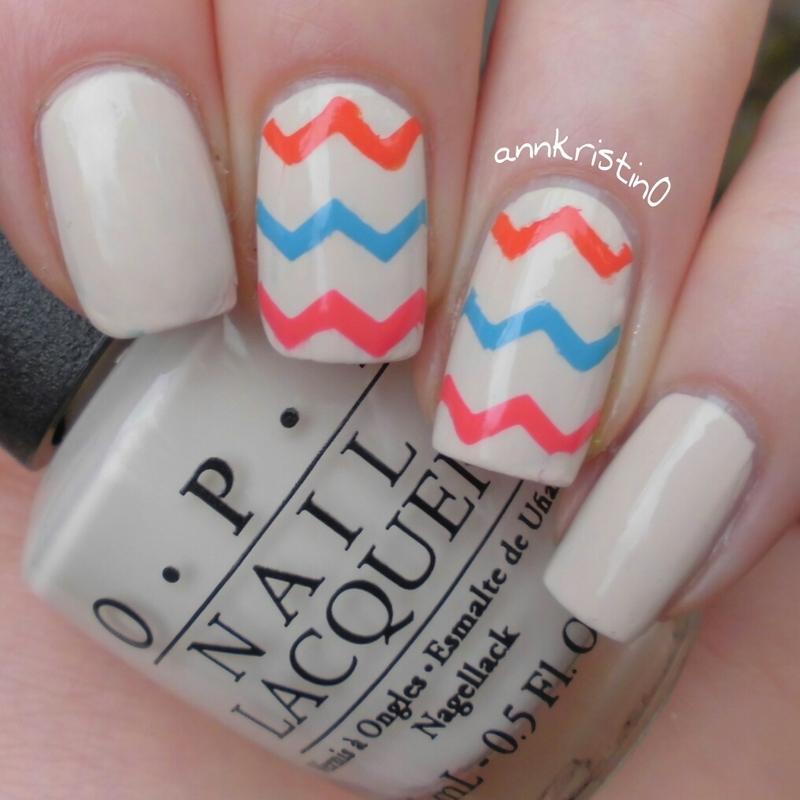 Chevron Summer Nails nail art by Ann-Kristin