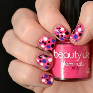 Bright dotticure nail art by Emma B