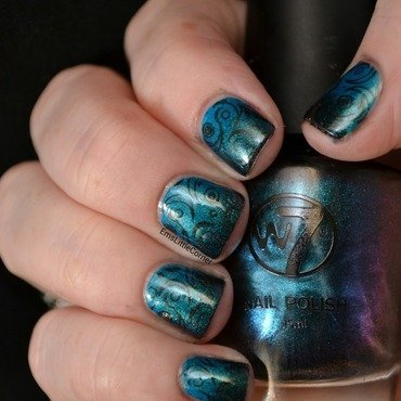 Shimmery gradient with stamping nail art by Emma B