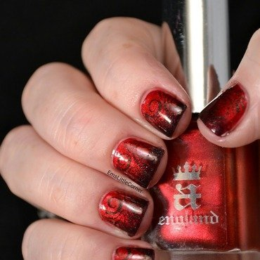 red gradient with stamping nail art by Emma B