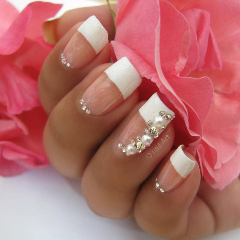 Pearl and Strass Weeding nail art by OnailArt
