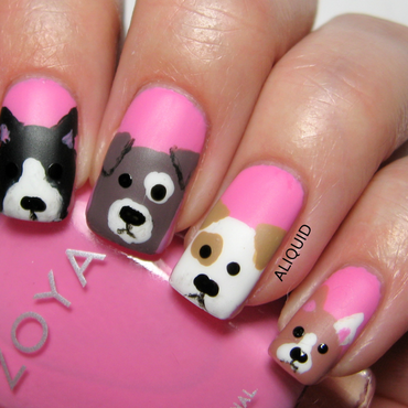 Cute puppies nail art by Alison Fisher