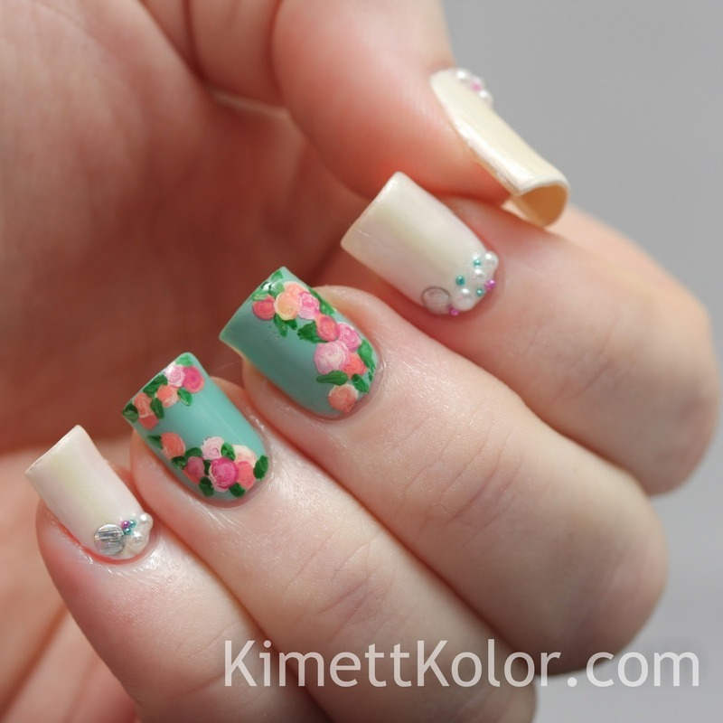 Pearls and Roses for June nail art by Kimett Kolor