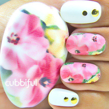 Inspiration and Final Work - side by side nail art by Cubbiful
