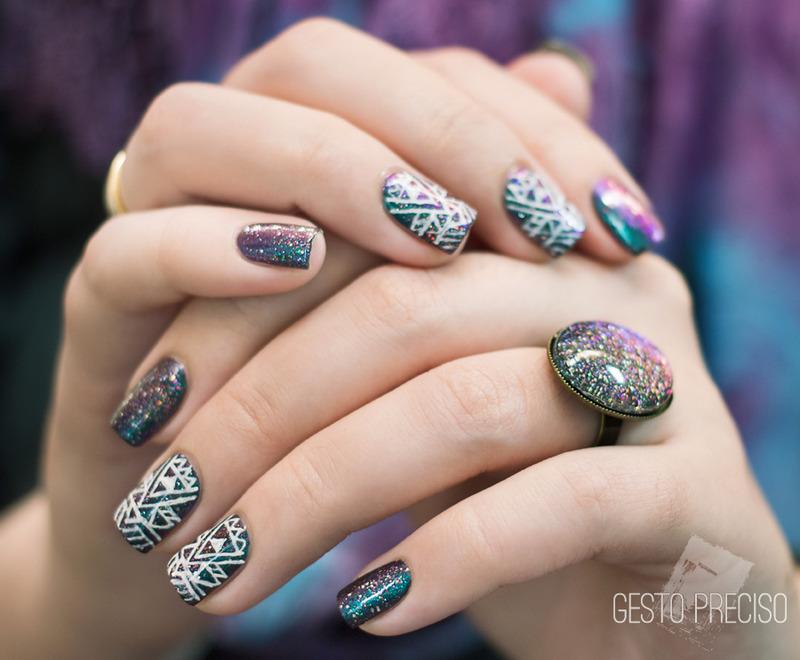Aztec Galaxy nail art by Gi Milanetto