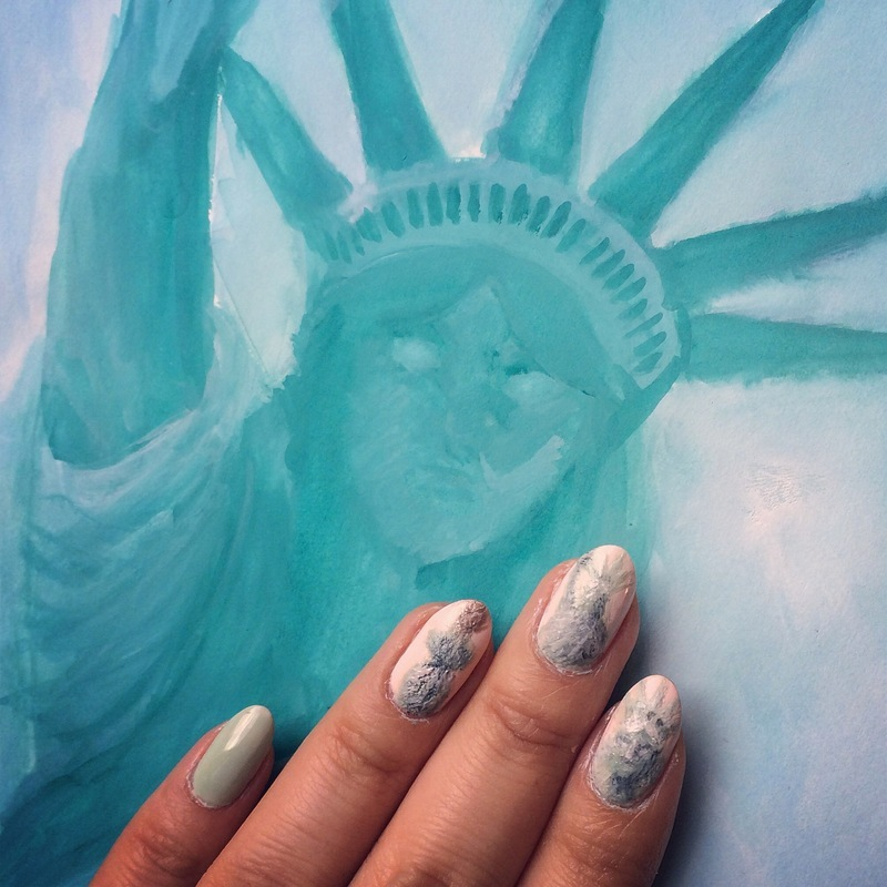 Statue of Liberty Nails nail art by Michelle